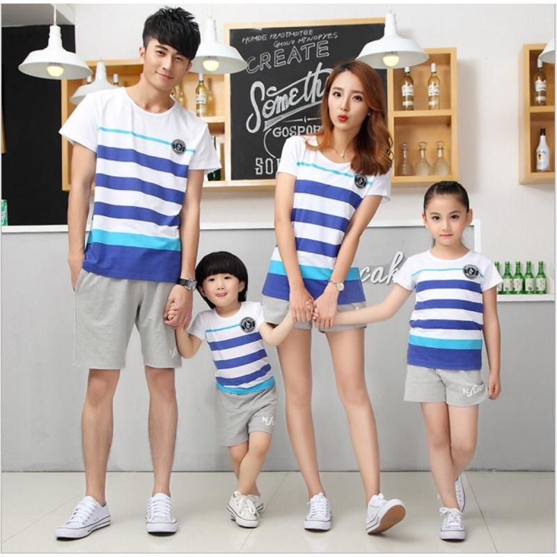 條紋純棉短袖T 恤親子裝全家裝