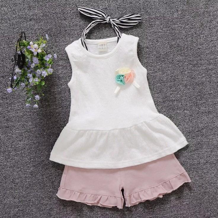 套裝無袖小花背心裙擺 幼童男童女童春裝夏裝 外貿 休閒70 110 1 5 歲