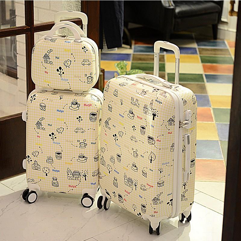 PC 拉桿箱萬向輪卡通可愛登機箱 行李箱子12 24 寸密碼旅行箱包化妝箱