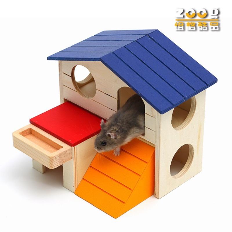 ZOOG 木質倉鼠玩具用品藍頂别墅倉鼠雙層小木屋童話蘑菇陶瓷小屋玩具磨牙减压