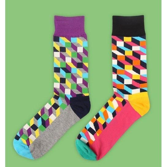 AJKE ~M046 ~全棉紳士襪彩格西裝襪新潮商務男襪純棉舒適男士襪
