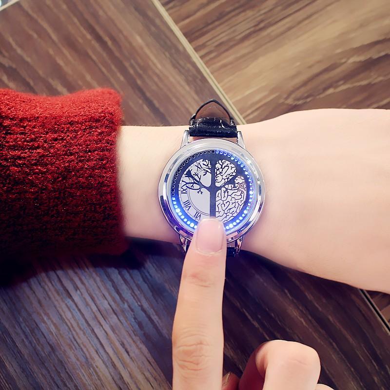智能 發光簡約無指針觸屏情侶男女生學生手錶真皮防水