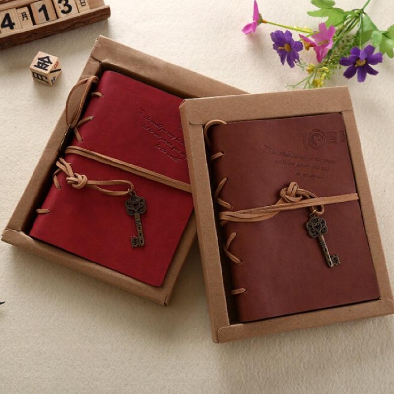 復古牛皮紙筆記本古銅鑰匙綁繩筆記本 牛皮紙筆記本復古風記事本微微一笑很傾城同款錐米小舖