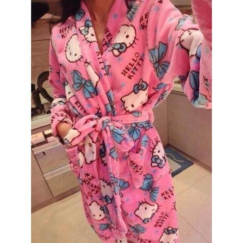 ~可愛Hello Kitty 凱蒂貓保暖珊瑚絨睡袍.浴衣浴袍睡衣家居服~~