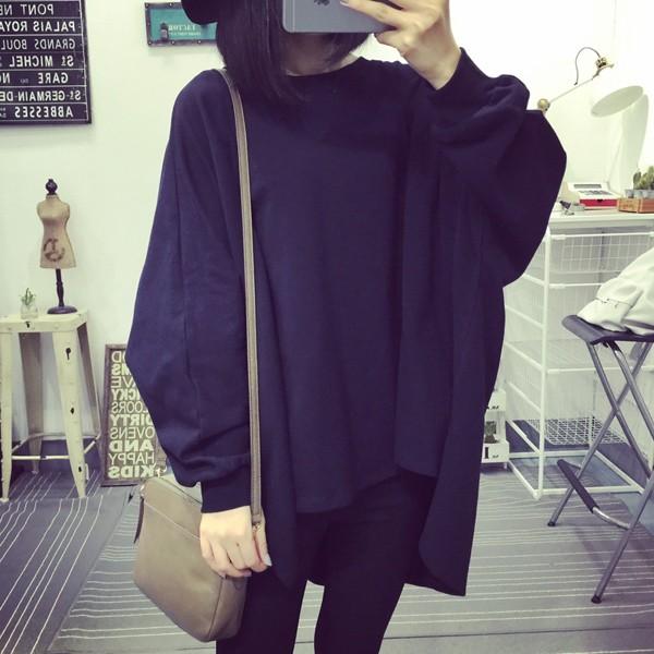 女裝學生寬松中長款純色長袖T 恤大碼蝙蝠衫上衣潮