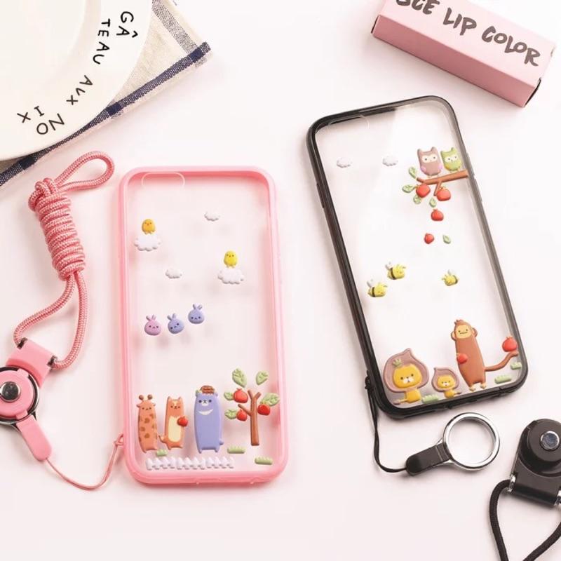 蘋果手機殼貼紙送掛繩!iphone5 5s se 全包軟邊殼i6 6s i6plus 保護