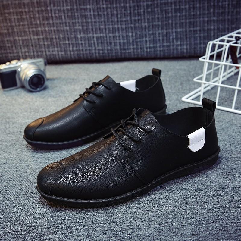 男鞋 潮鞋2017  男士休閒鞋皮鞋男英倫潮流板鞋豆豆鞋子