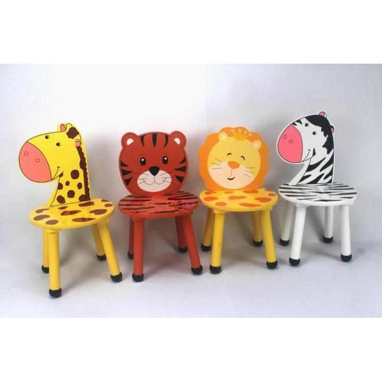 ~客滿來~兒童桌椅實木卡通動物椅寶寶吃飯椅幼兒學習椅老虎斑馬獅子長頸鹿 椅DIY 教室教學