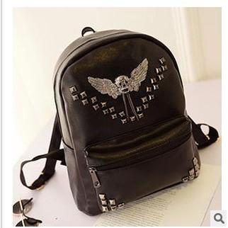 銷售 飛鷹骷髏黑色鉚釘背包雙肩包pu 皮男女中生學生書包