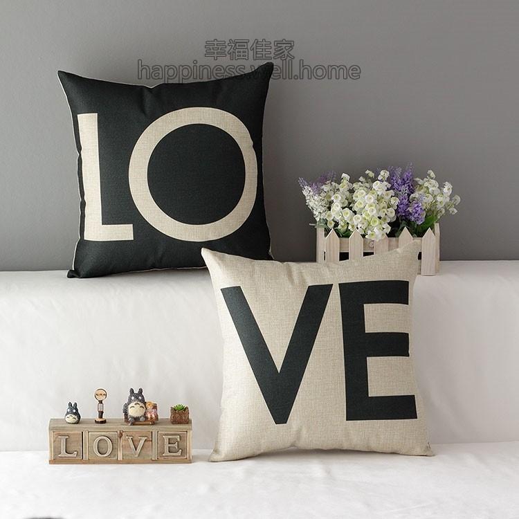 3 月 黑白LOVE 情人結婚婚禮佈置情人節抱枕抱枕套不含枕心沙發北歐宜家zakka 45