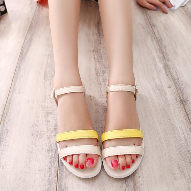 平跟涼鞋女鞋平底鞋孕婦涼鞋防滑休閒鞋涼鞋學生鞋三色藍黃粉