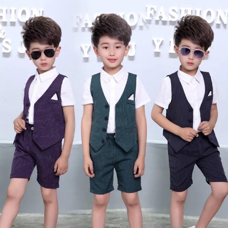 W R ] 兒童馬甲套裝男童條紋兩件套 小孩禮服短袖襯衫短褲西裝背心馬甲綠色藍色紫色 紳士