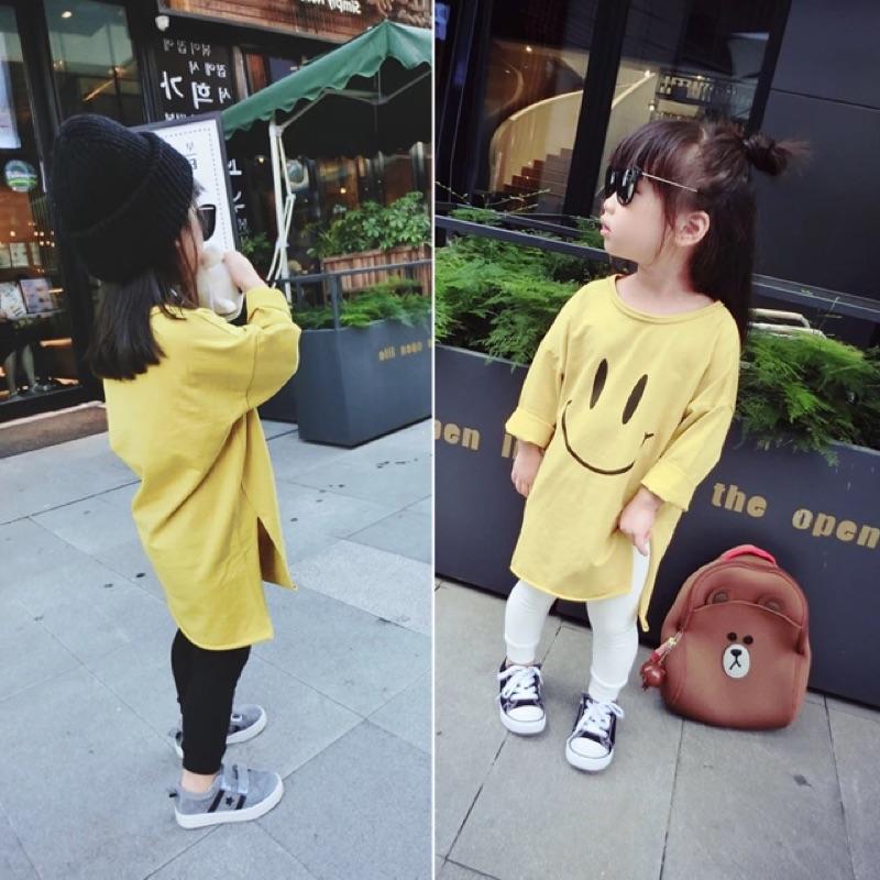 女童女寶兒童寶寶幼兒黃色笑臉印花下擺開叉長版長袖圓領T 恤上衣連身裙