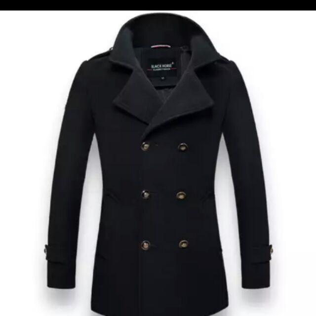 男士中長款雙排扣毛呢大衣男純色修身百搭風衣青年外套潮