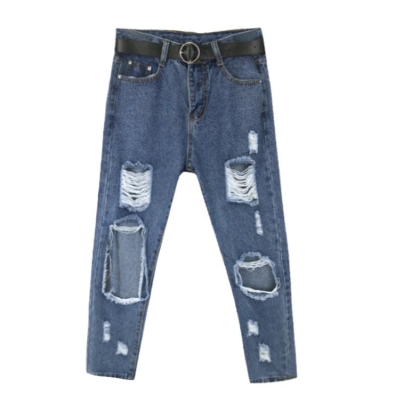轉售不對稱破壞感挖洞單寧牛仔破褲破牛仔褲刷破款
