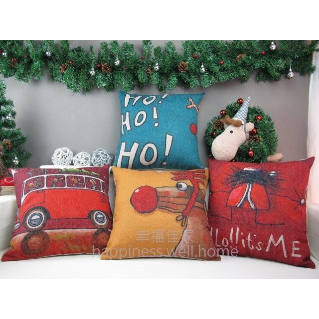 絕版 聖誕老人聖誕麋鹿高 厚棉麻抱枕套抱枕不含枕芯枕心靠枕