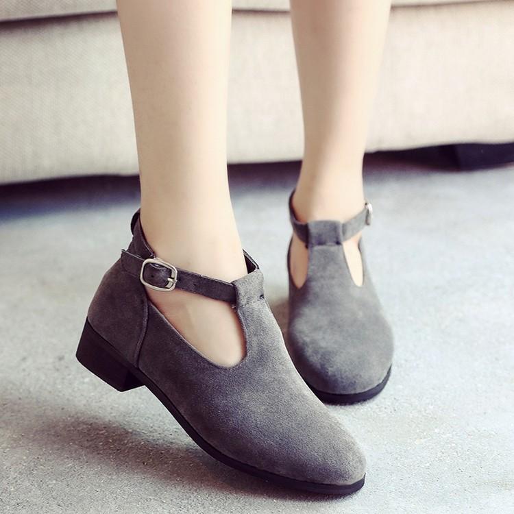 復古粗跟中跟單鞋圓頭英倫布鞋一字式扣帶女鞋中口 鞋