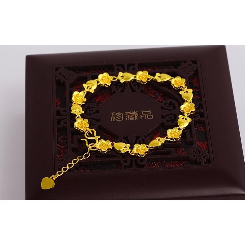 ~贈包裝 ~18k 花朵愛心手鐲手環手鍊手鏈女士飾品手鏈高仿黃金小花手鏈手鍊首飾