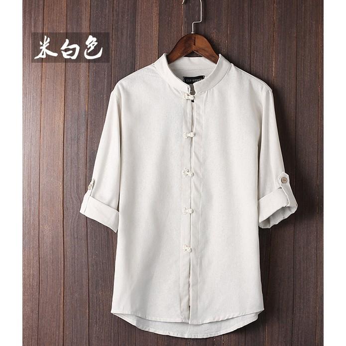 原創中國風男士 棉麻亞麻襯衫立領盤扣七分袖上衣複古男唐裝