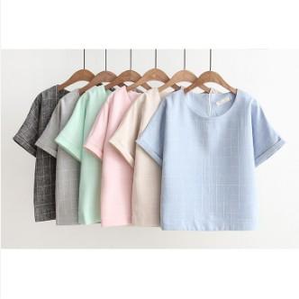 寬鬆短版棉麻格紋上衣七色