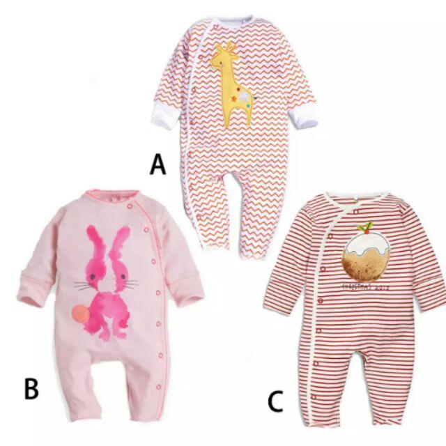 65 動物卡通圖案粉色系女寶寶連身衣包屁衣哈衣 兒童全棉長袖爬服套裝~漾媽咪嬰幼兒用品兔裝
