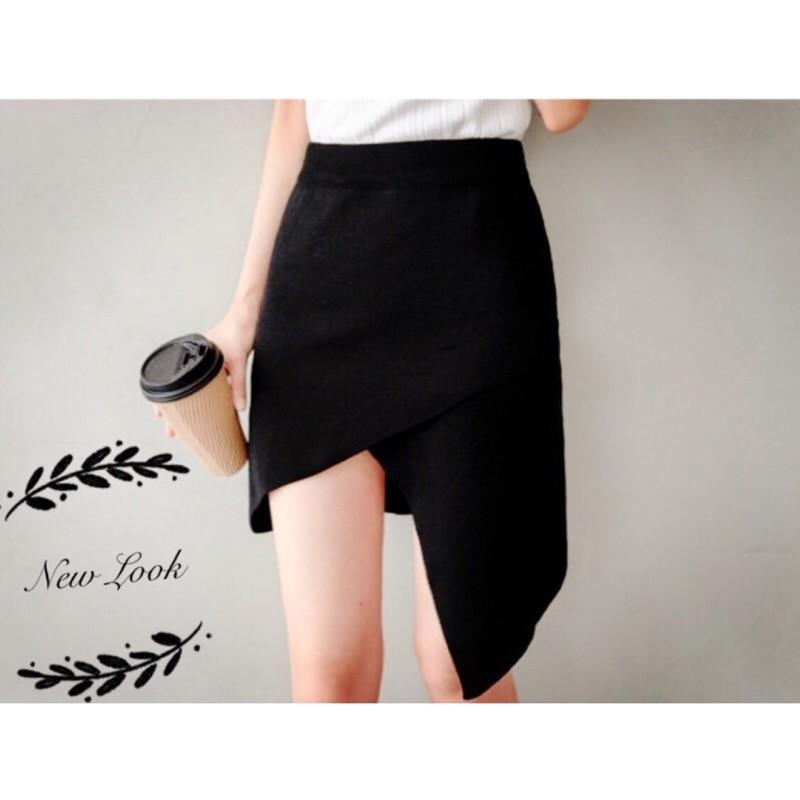 黑色大量 秒出~JinG ~不規則下擺交叉 微性感薄針織包裙顯瘦高腰裙短裙五分裙A 字裙