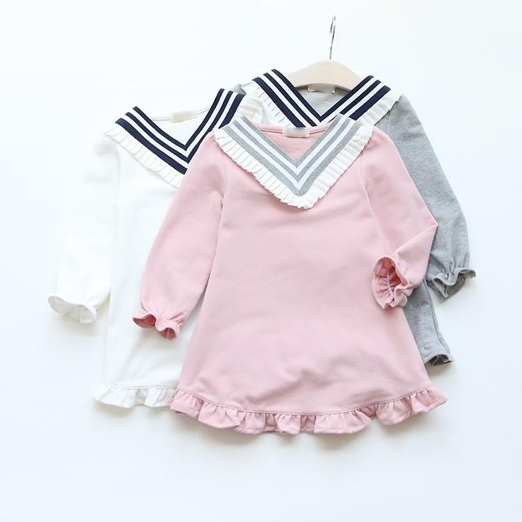 女 薄款V 領海軍風花邊連衣裙長袖淑女兒童娃娃裙女童長版上衣 裝荷葉邊粉色上衣兒童牛仔褲內