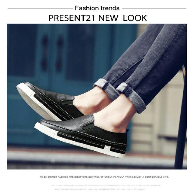 紳士 PRESENT21 ~ 英倫休閒透氣車縫 皮革懶人鞋休閒鞋三色