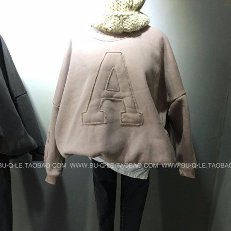 ▲CC 大學T ▲2017 韓國單AB 字母刺繡加絨加厚長袖圓領套頭衛衣絨衫外套 潮流 學