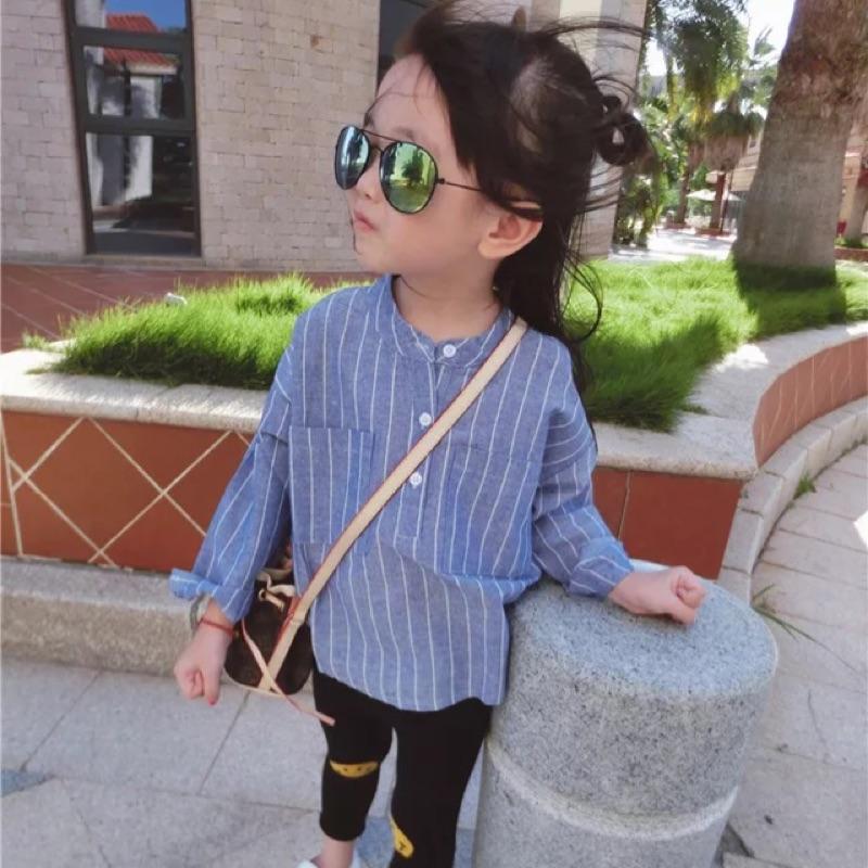 女童男童兒童寶寶小童條紋直條紋胸口口袋中長版長袖立領襯衫上衣