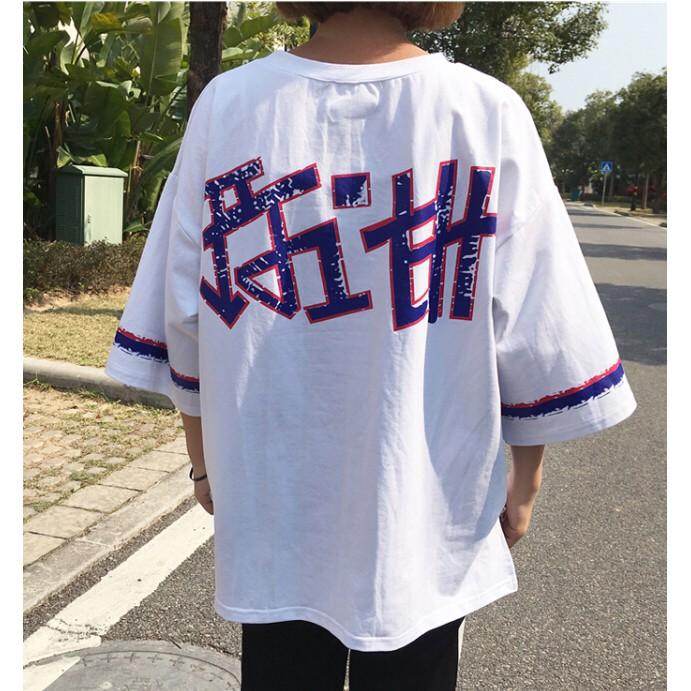 ~ ~實拍韓國系 寬松顯瘦背後印花五分袖圓領套頭T 恤