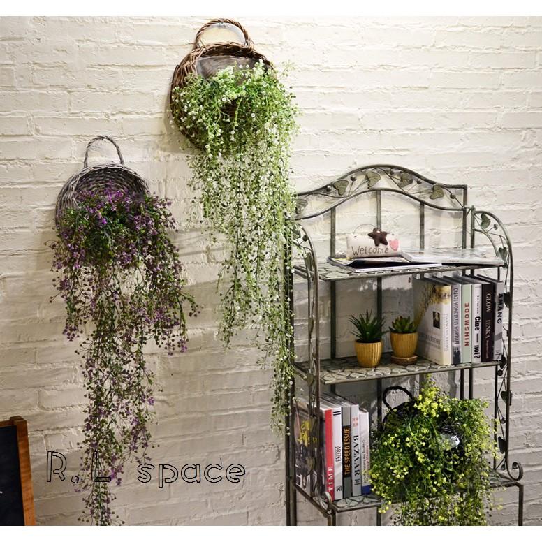 R L space ~美式鄉村田園柳編仿真植物花藝套裝壁飾 家居牆面裝飾吊籃牆飾