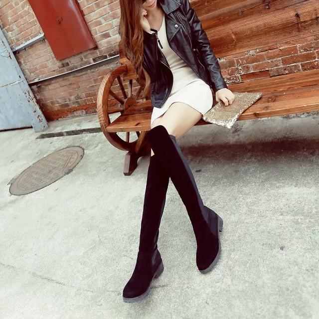 瘦腿過膝長靴中筒女靴子 靴潮 長筒彈力靴高筒平底女鞋