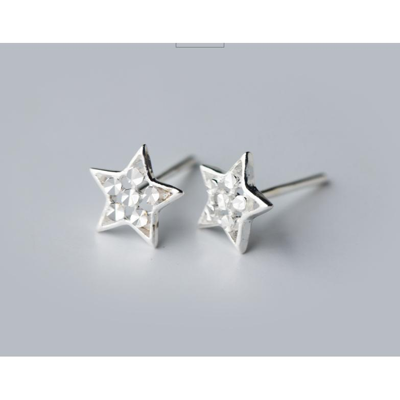 皇后飾品純銀五角星 切割面非鑲鑽星星耳環耳針不過敏925 銀E28