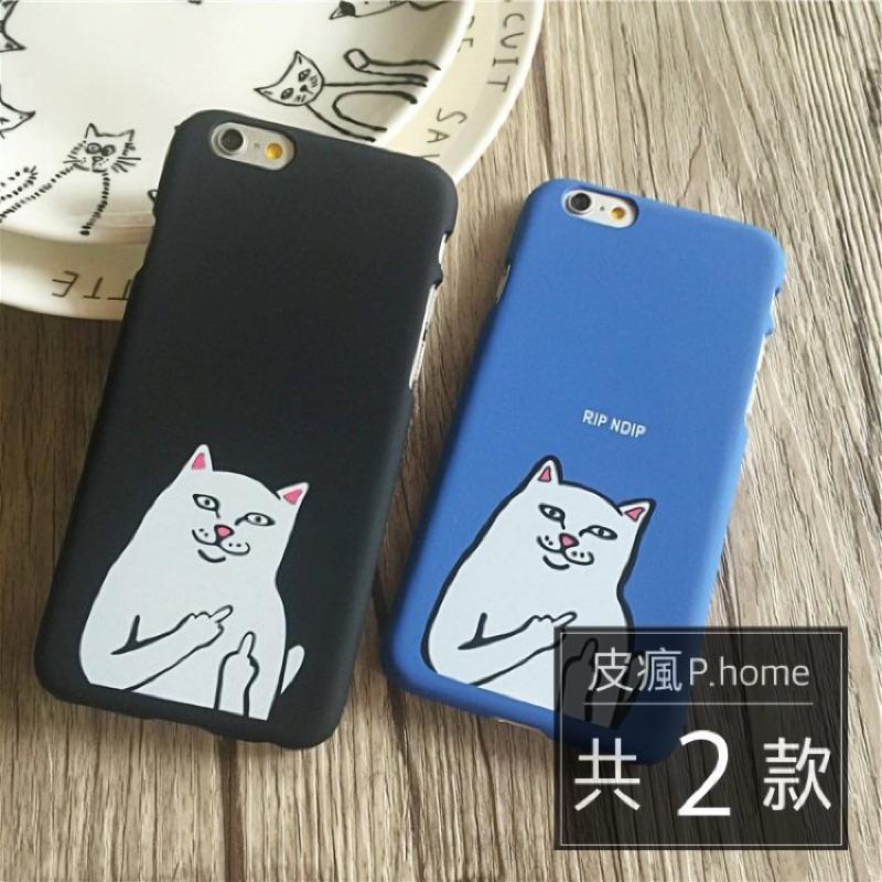 ~皮瘋~中指貓手機殼IPHONE 5s SE 6 6s Plus 磨砂保護硬殼小賤貓搞怪搞