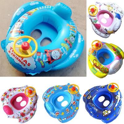 迪士尼卡通Hello Kitty 嬰兒泳圈水上玩具兒童寶寶方向盤喇叭 小孩充氣坐圈遊泳圈