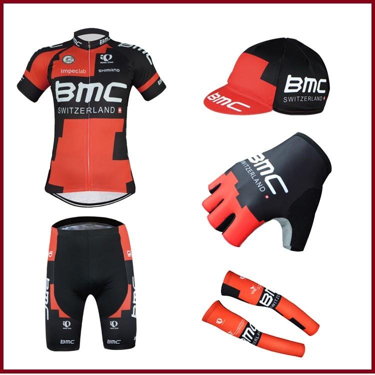 酷樂 16 年BMC 車衣套餐上衣短褲布帽手套袖套環法萊卡纖細吸濕排汗騎行服公路車登山車單