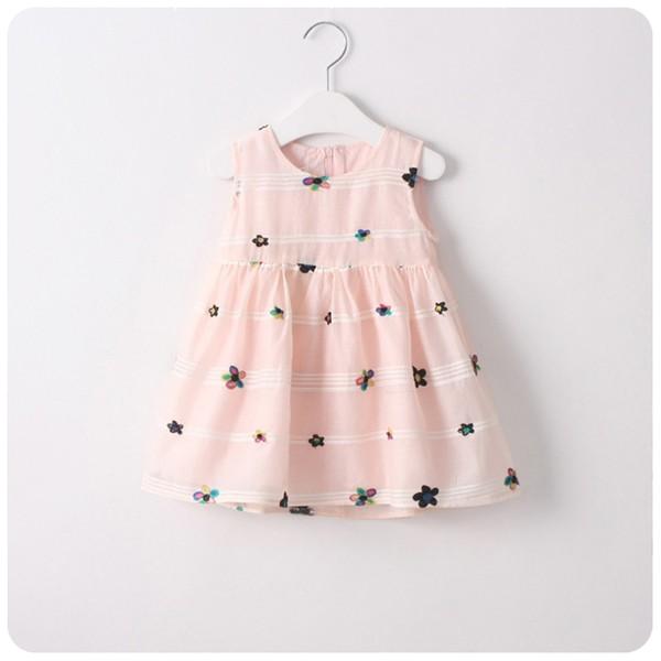 兒童五彩花朵刺繡連衣裙子精美繡花背心裙