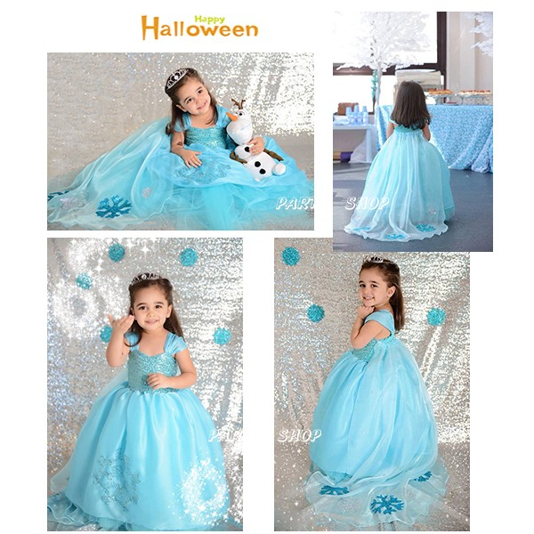 ECG164 ~派對樂~萬聖節服裝小朋友變裝服冰雪奇緣公主裝_ 藍雪花亮片裙禮服