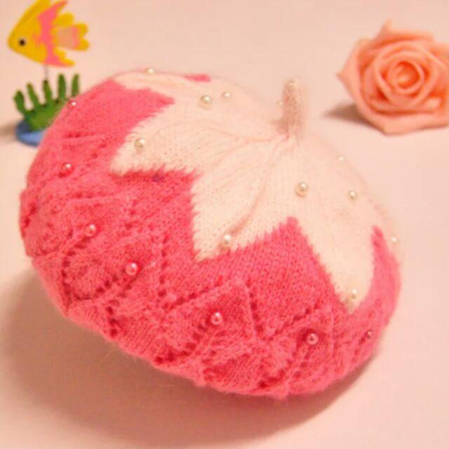 冬天韓國嬰幼兒針織帽寶寶 珍珠加絨保暖氣質貝雷帽