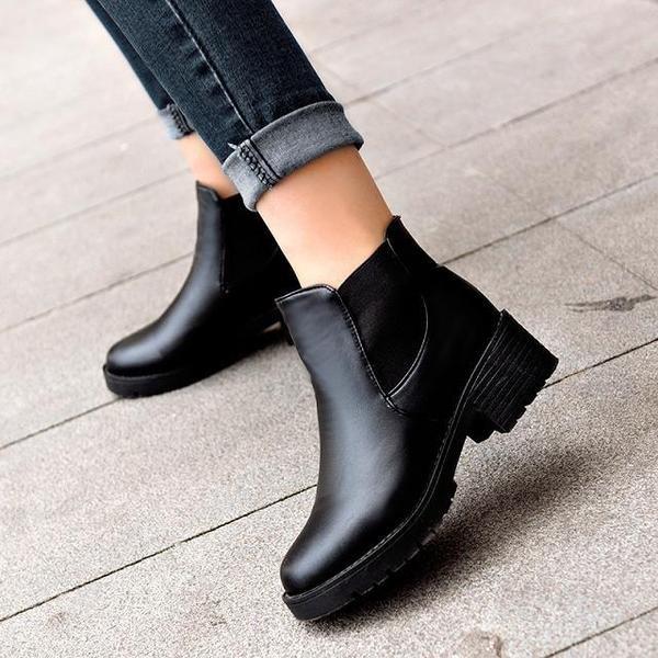 2016  英倫復古皮鞋粗跟馬丁靴短筒女靴雪地中跟棉靴子女鞋