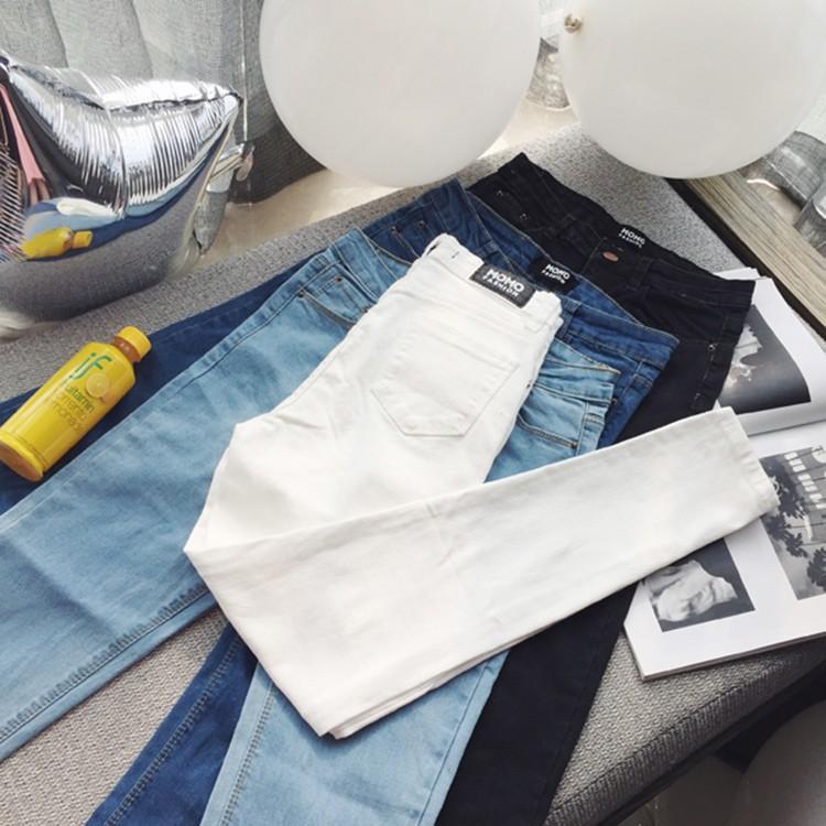 499 !!白色黑色淺藍色深藍色 學院風超彈力修身顯瘦牛仔褲女緊身褲復古風鉛筆褲小腳褲