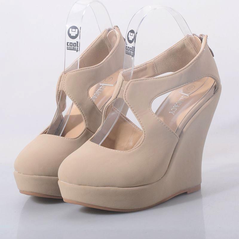 虧本 坡跟女鞋厚底單鞋高跟鞋 裸色百搭舒適甜美圓頭秋女鞋休閒鞋 鞋跑步鞋網球鞋豆豆鞋懶人鞋