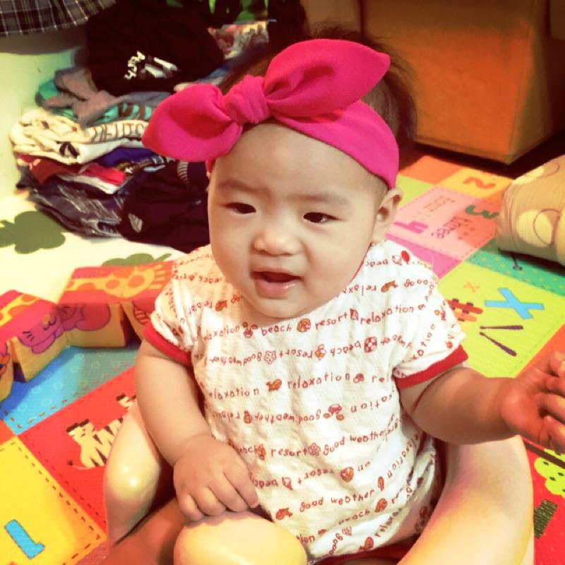 桃紅色蝴蝶結髮帶女寶寶幼兒女童