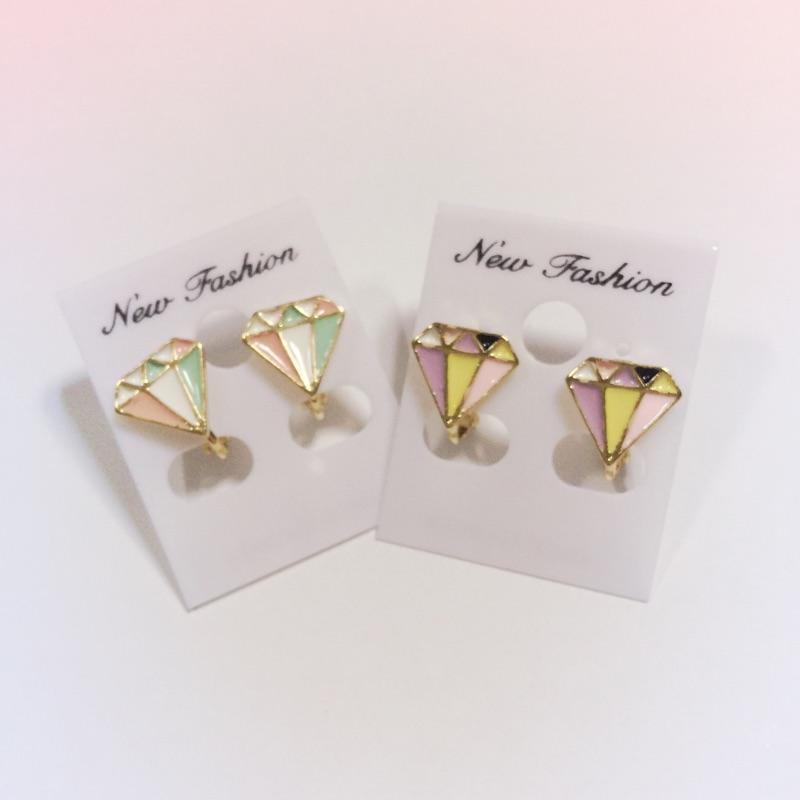 夾式耳環❤️ 繽紛鑽石可愛耳夾粉綠粉紫
