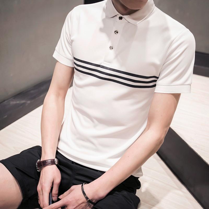 條紋男士短袖T 恤修身 立領POLO 衫日系體恤潮流休閒打底衫