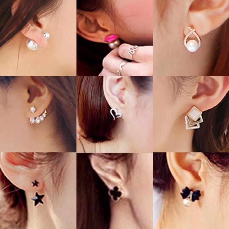 韓國防過敏純銀鈦針甜美氣質珍珠耳墜 飾品