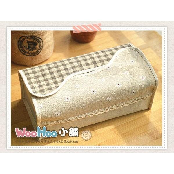 ~WOOHOO 小舖~~PZA808 ~Zakka 棉麻雜貨格紋蕾絲拼貼風~波浪 面紙盒~