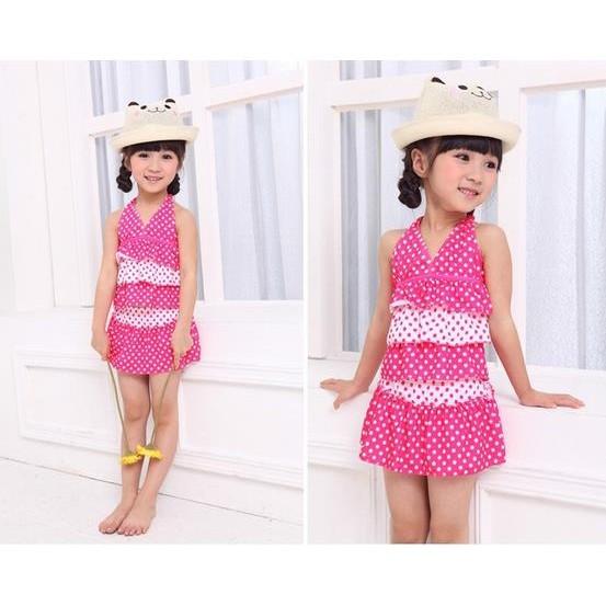 ~ ~3 5 歲點點甜心公主泳衣女童泳裝連身泳裝泳裙