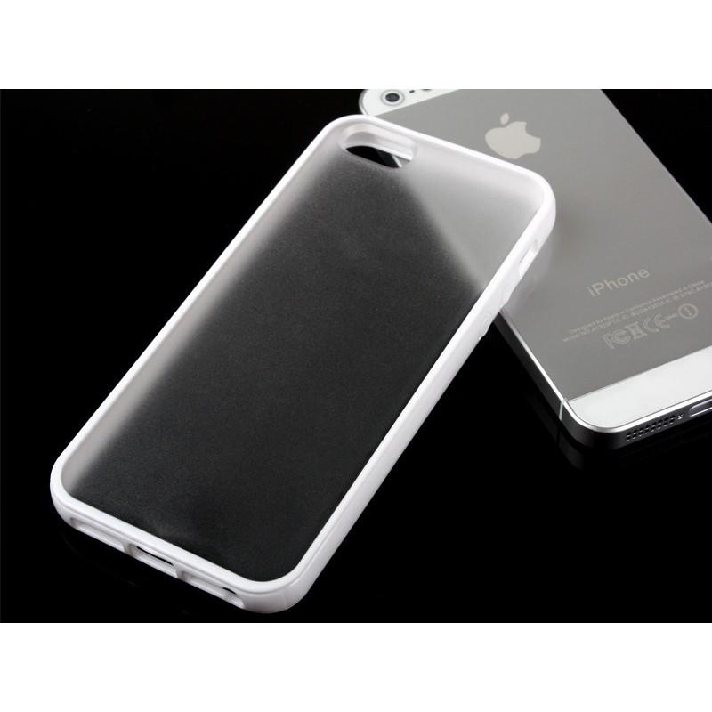 GIFUTO Apple iPhone 5 5s SE 糖果色邊框磨砂半透明保護殼–白ZA